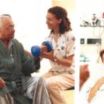 therapist helps swing bed patient strenghten arms